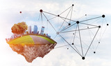 Concept of modern networking technologies and eco green construction - 178734469