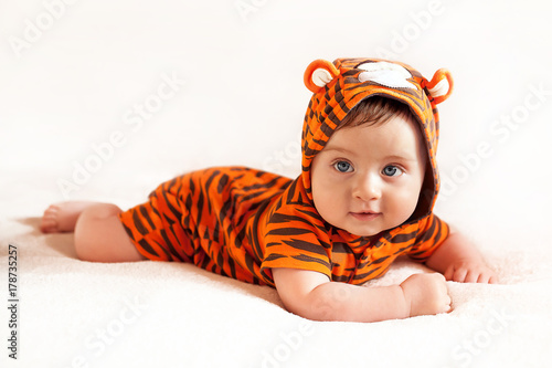 funny boy wearing little tiger suit Poster