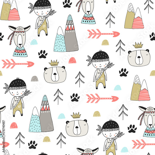 Cute hand drawn nursery seamless pattern with wild animals in scandinavian style. Vector illustration - 178740487