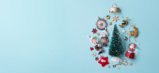 Christmas holidays composition on papaer background; Christmas tree decoration and copy space for your text