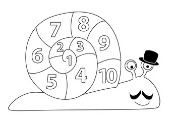 Cartoon snail with hat and numbers 1 - 10 / coloring page for children