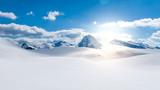 Winter scene, snowy mountains