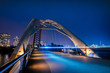 Humber Bay Arch Bridge Toronto Ontario Canada Featuring Long Exposure at Blue Hour