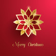 Merry Christmas greeting card. Paper graphic of Christmas snowflakes.