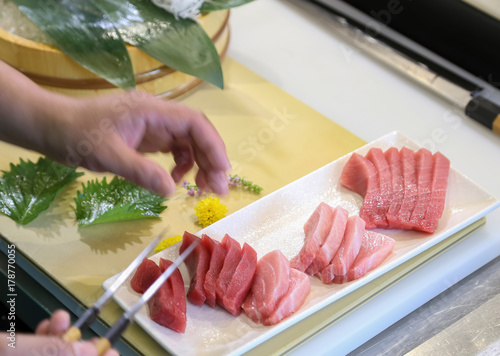 Preparation of tuna sashimi Poster