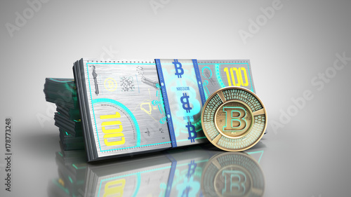concept of bitcoin banknote and monet virtual money bills 3d render on grey