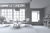 White Modern interior - 178773451