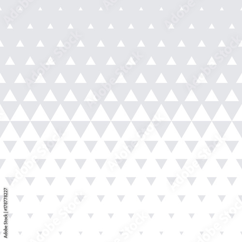 Triangle geometric pattern background. Vector seamless abstract white halftone minimal gradient with simple modern graphic texture for interior decor wall panel or tile texture design - 178778227