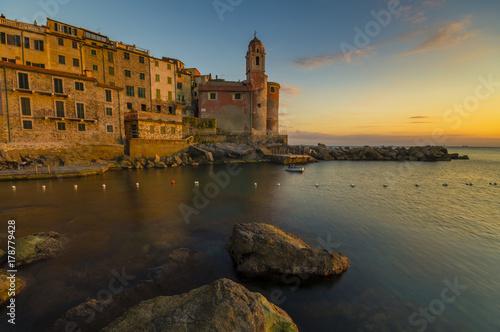 Scenic, peaceful evening in Tellaro, Liguria, Italy Poster