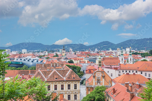 Graz Cityscape over Blue Sky with White Clouds