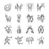 Happy line icon set. Included the icons as fun, enjoy, party, good mood, celebrate, success and more. - 178782608