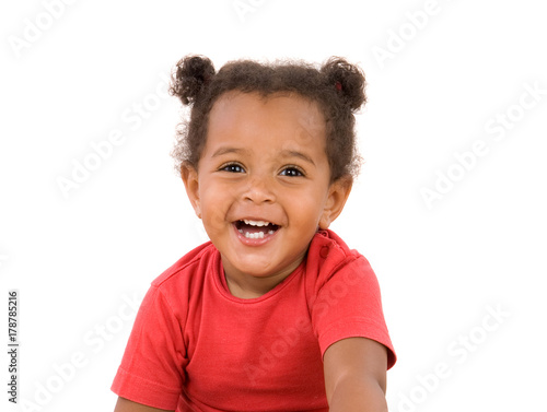 Small african baby with two pigtails