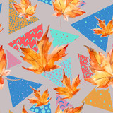 Autumn watercolor leaves on geometric background with doodles. - 178790845