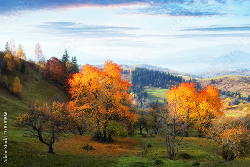 Papiers peints Automne Amazing rural scene on autumn valley