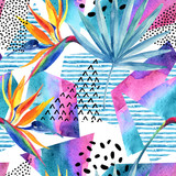 Watercolor tropical flowers on geometric background with doodles. - 178792229
