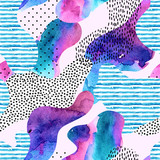 Smooth bend shape filled with watercolor striped texture seamless pattern. - 178792659