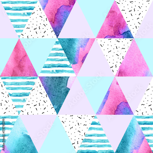 Abstract geometric watercolor seamless pattern. - 178793299