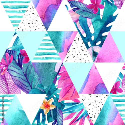 Watercolor exotic flowers, leaves, grunge textures, doodles seamless pattern. - 178793433