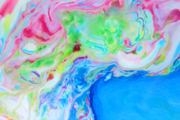 Space multicolored background, galactic pattern, abstract background with paint splashes on liquid, creative back pnean for designer, other reality