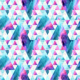 Abstract geometric watercolor seamless pattern. - 178793859