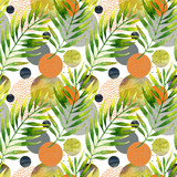 Abstract floral and geometric seamless pattern. - 178794006