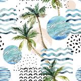 Art illustration with palm tree, doodle and marble grunge textures. - 178794269