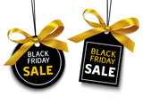 Black friday sale tag with golden bow for your design. Vector set of discount labels - 178794484