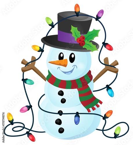 Papiers peints Enfants Snowman with Christmas lights image 1