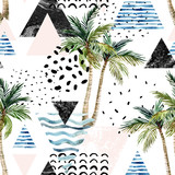 Art illustration with palm tree, doodle, marble, grunge textures, geometric shapes - 178797464