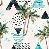 Art illustration with palm tree, doodle, marble, grunge textures, geometric shapes - 178797696