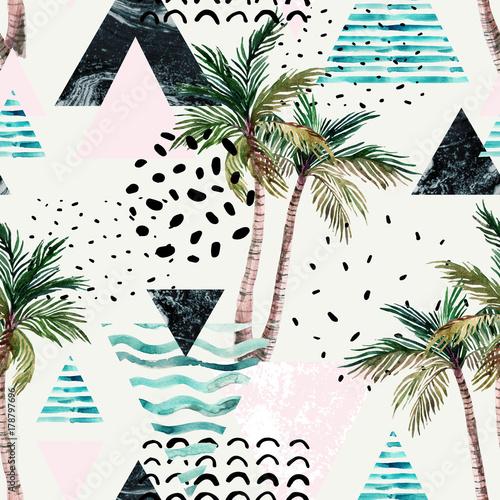 ilustracja-z-palmy-doodle-marmur-grunge-tekstury-geometryczne-ksztalty