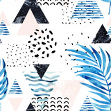 Triangles with palm tree leaves, doodle, marble, grunge textures, geometric shapes in 80s, 90s minimal style. - 178797897