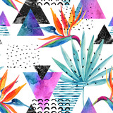 Watercolor exotic flowers, leaves, grunge textures, doodles seamless pattern in rave colors - 178798484