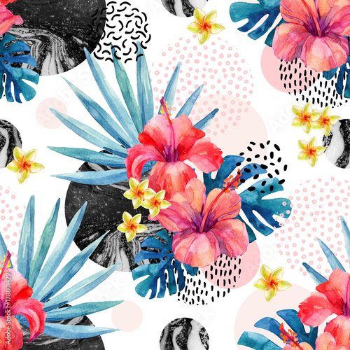 Watercolor tropical flowers on geometric background with marbling, doodle textures - 178801429
