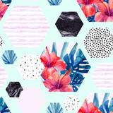 Abstract summer hexagon shapes seamless pattern - 178802644