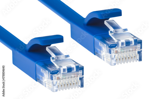 Wire patch cord for internet blue, connectors lan   Buy Photos   AP ...