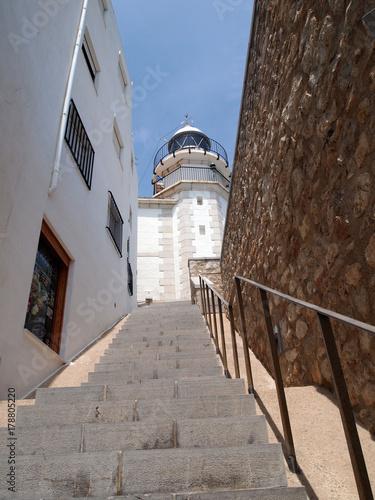 Город Пеньискола, маяк, побережье Коста-дель-Азахар