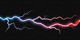 Lightning electric thunder storm light flash. Vector realistic lightning rain weather thunderbolt on black transparent background. Neon color energy electricity light flash or spark burst effect - 178806258