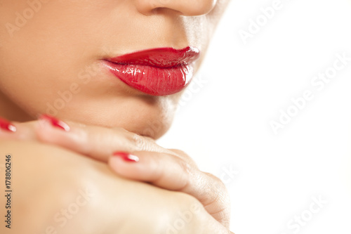 beautiful lips with red lipstick Poster