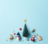 Christmas holidays ornament flat lay; Christmas card background - 178813842
