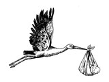 Stork carry baby engraving vector illustration