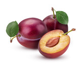 Two Fresh plum with leaf and one cut in half with bone - 178815001