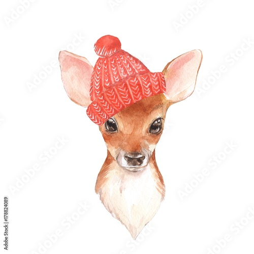 Baby Deer, hat. Hand drawn cute fawn. Watercolor illustration - 178824089