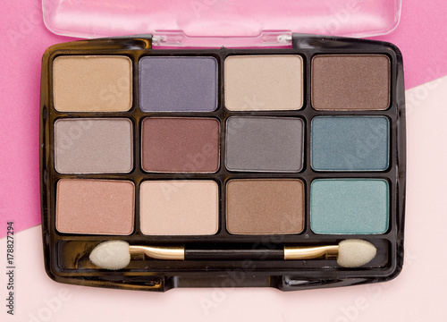 Eye Shadow Compact on a Pink Background Poster