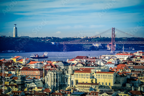 Panorama of the european city Lisbon, capital of Portugal Poster