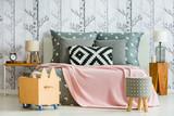 Decorative pillow in feminine bedroom - 178838280