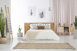 Fototapety Spacious bedroom with cactus motif