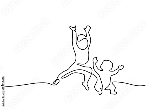 Continuous Line Drawing Happy Toddler Girl Playing With Her Newborn