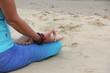 yoga lotus position on beach background copy space  calm beach ocean