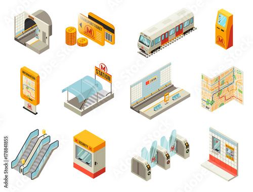 Isometric Metro Station Elements Set - 178841855
